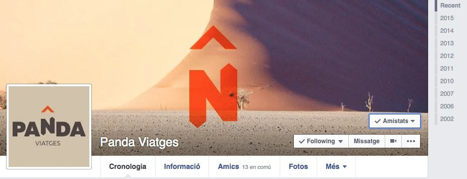 Antic perfil de Facebook de Panda Viatges