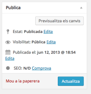 El requadre Publica de WordPress