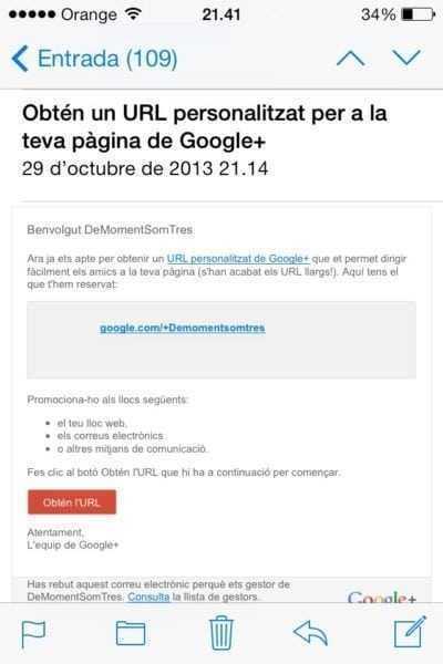 Pas 1. Fes clic a l'enllaç amb la vanity URL que ofereix Google+