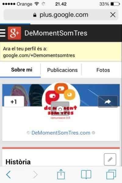 Pas 4. S'obre la teva pàgina a Google+ amb la nova adreça