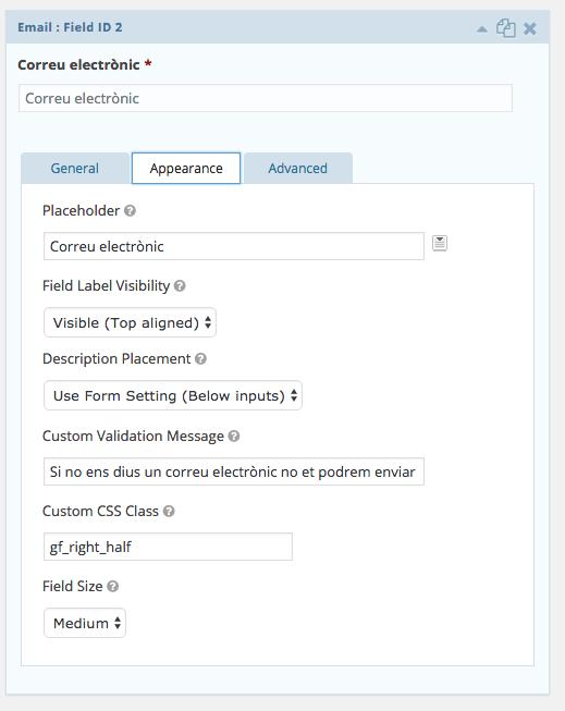 Manual de WordPress - Gravity Form - Configurar i personalitzar els missatges d'error 3