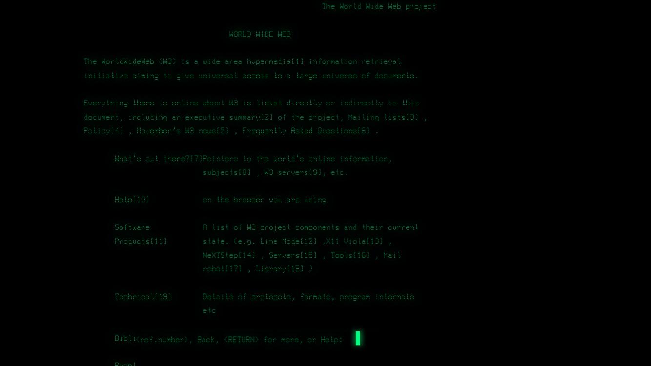 La primera web vista des d'un navegador de text