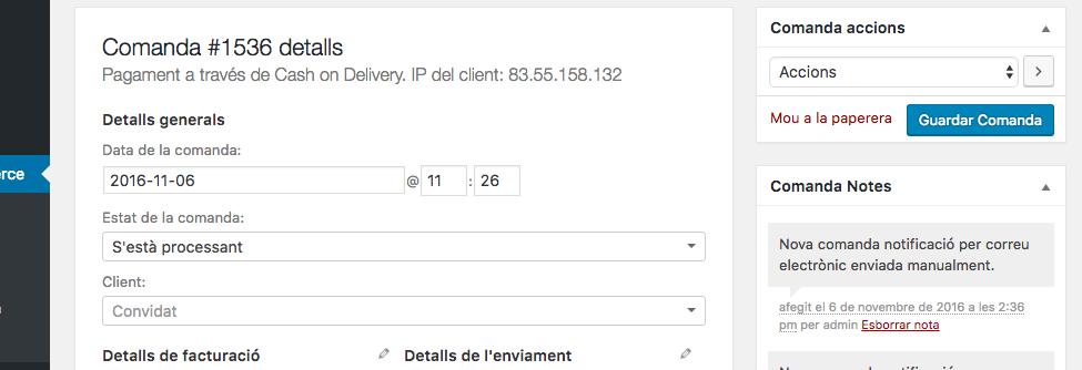 WooCommerce: reenviar el correu de comanda 2