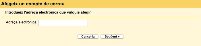 Afegir adreça electrònica a Gmail