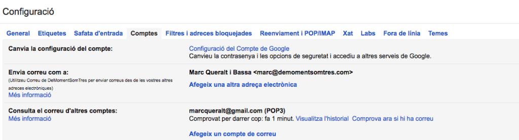 La pantalla de configuració de Gmail