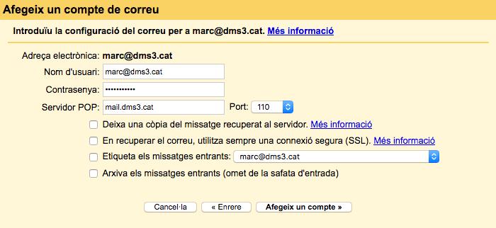 Afegir un compte de correu addicional a Gmail