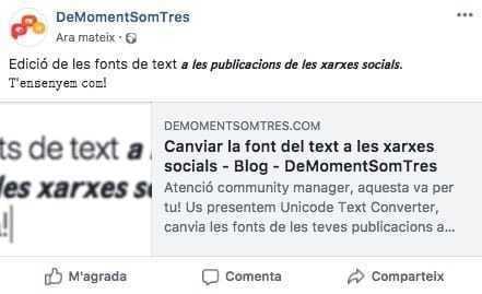 Canviar la font del text a les xarxes socials