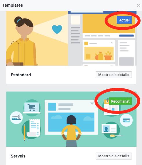 Canvi de disseny de la pàgina de Facebook