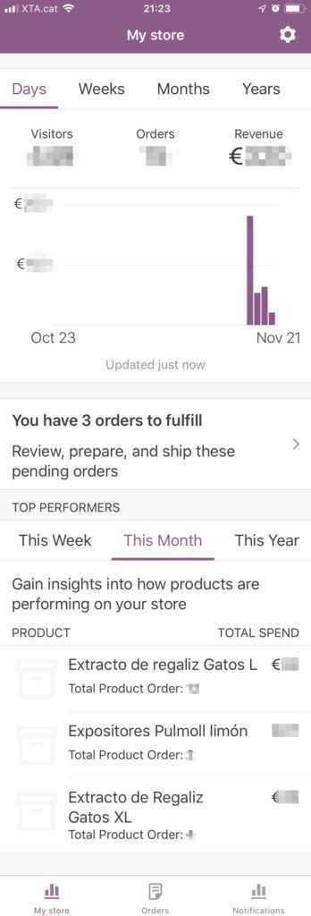 La nova pantalla de resum de l'app de WooCommerce per a iPhone