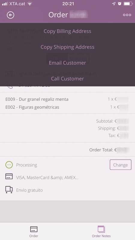 Comanda de l'ecommerce amb els enllaços del menú per contactar el client amb facilitat.