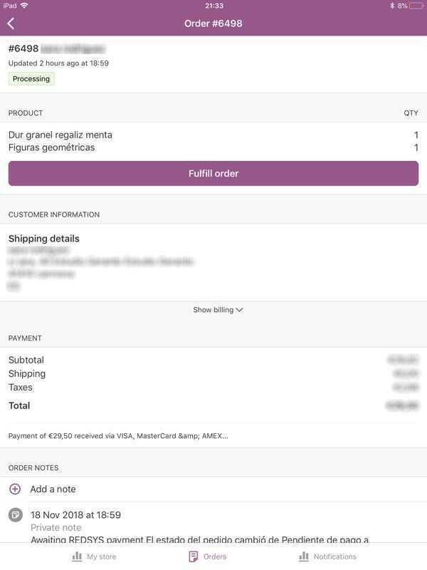 Vista general d'una comanda de la versió beta amb el botó Order Fulfill