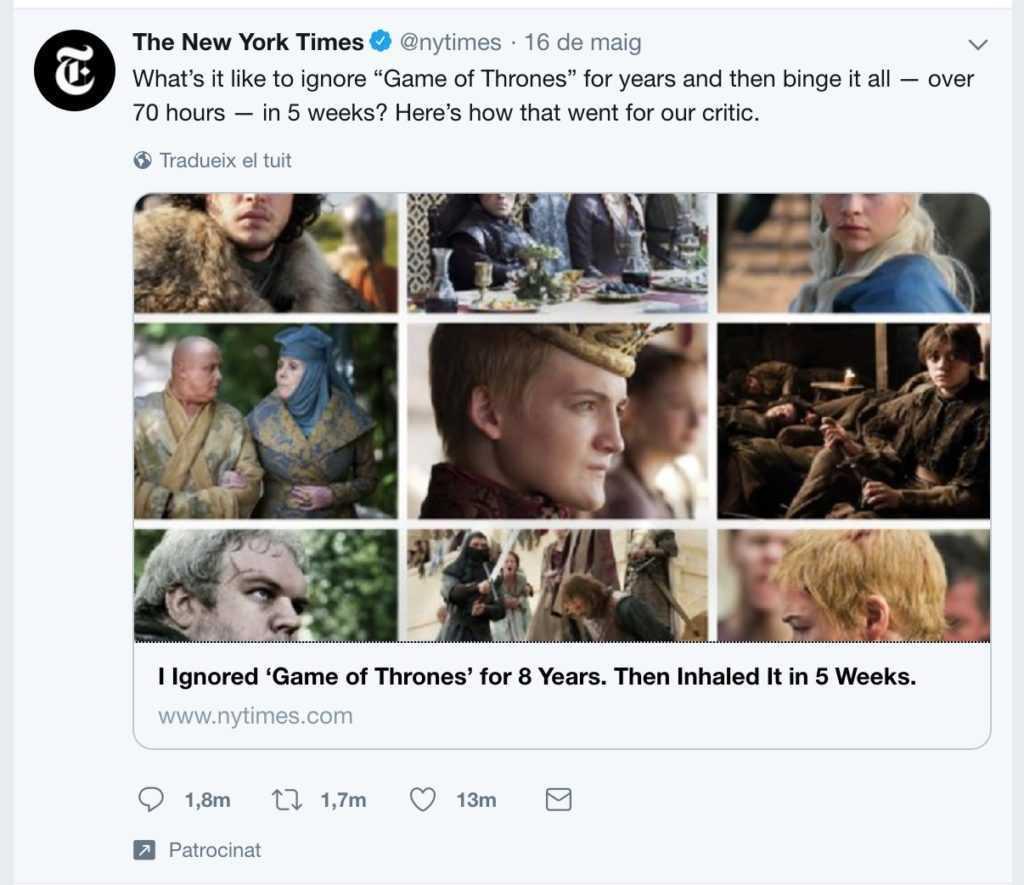L'anunci sobre Joc de Trons a Twitter