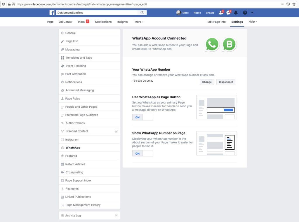 Configuració de Whatsapp a Facebook