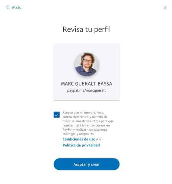 Procés de creació d'un enllaç PayPalMe - pas 5