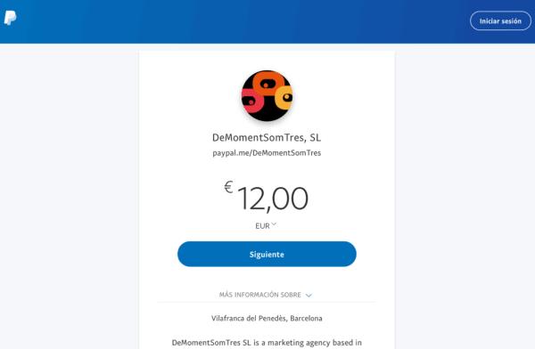Pàgina PayPal Me de DeMomentSomTres