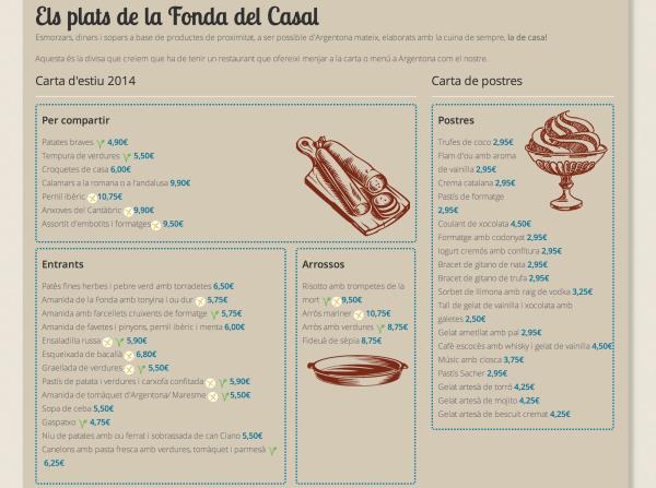 La Fonda del Casal marca a la web els seus plats sense gluten