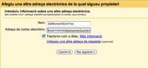 Pàgina de l'assistent de configuració on se'ns demana l'adreça de correu electrònic.