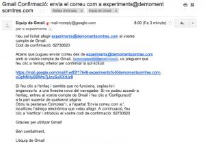 El contingut del missatge de verificació de gmail