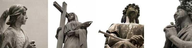 Imatges de les estàtues del cementiri que es poden trobar a la web