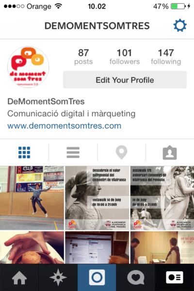 El nostre perfil d'instagram vist des del telèfon mòbil.