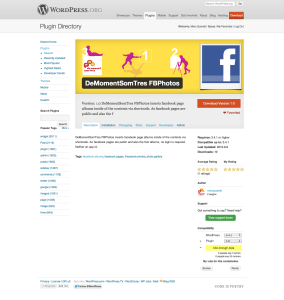 La pantalla de l'extensió de WordPress per importar els àlbums de Facebook