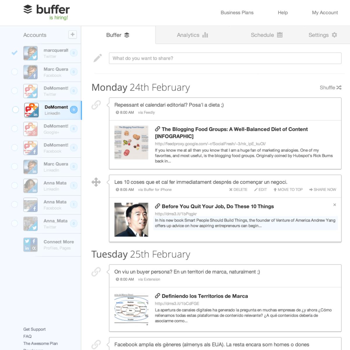 La cua de missatges que Buffer gestiona pel Linkedin de DeMomentSomTres