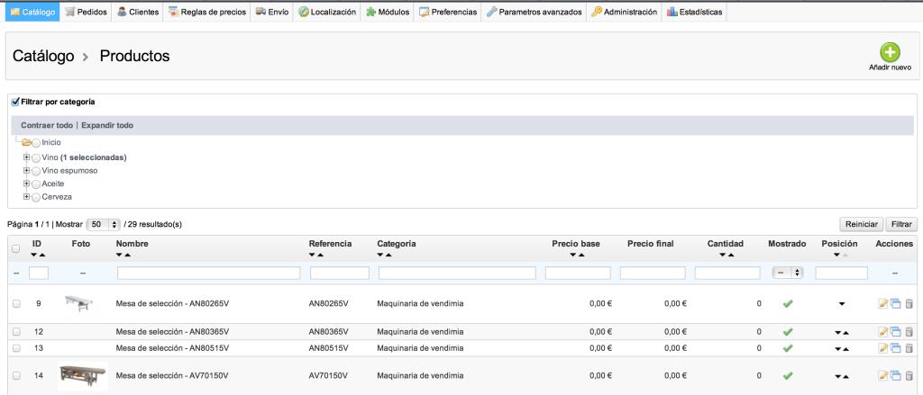 Prestashop mostra l'ordenació de productes quan hi ha una categoria seleccionada
