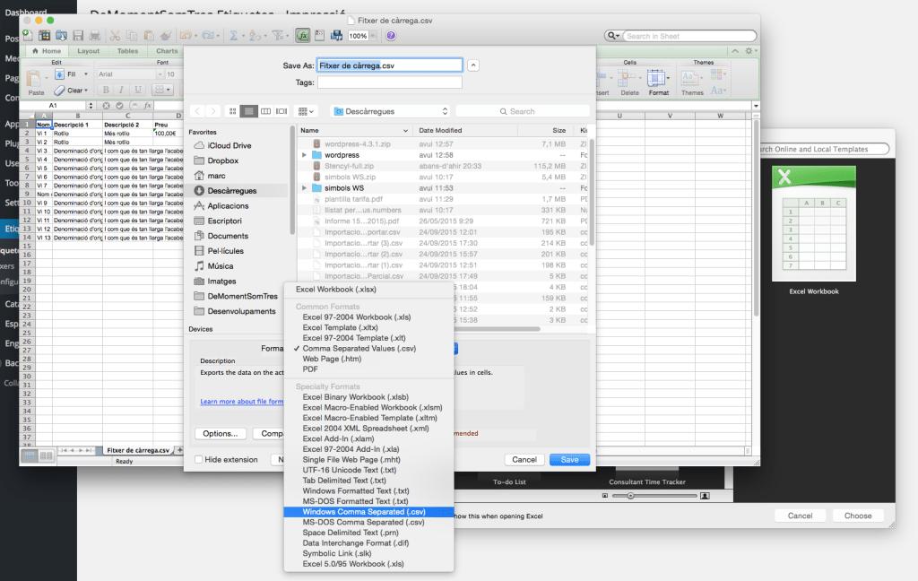 Exportar d'Excel per carregar-ho al component de gestió d'etiquetes de WordPress