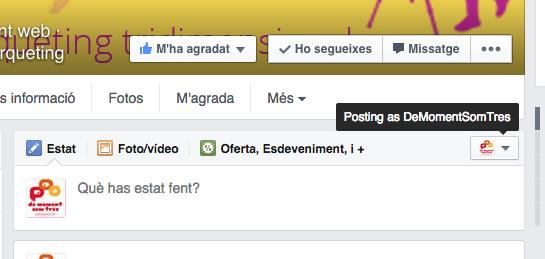 Atribució d'administradors al post de la pàgina de facebook