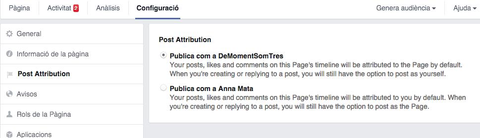 Configuració de l'atribució del post a Facebook