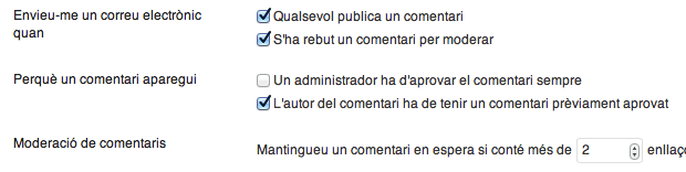 captura de les opcions de gestió de l'spam a WordPress