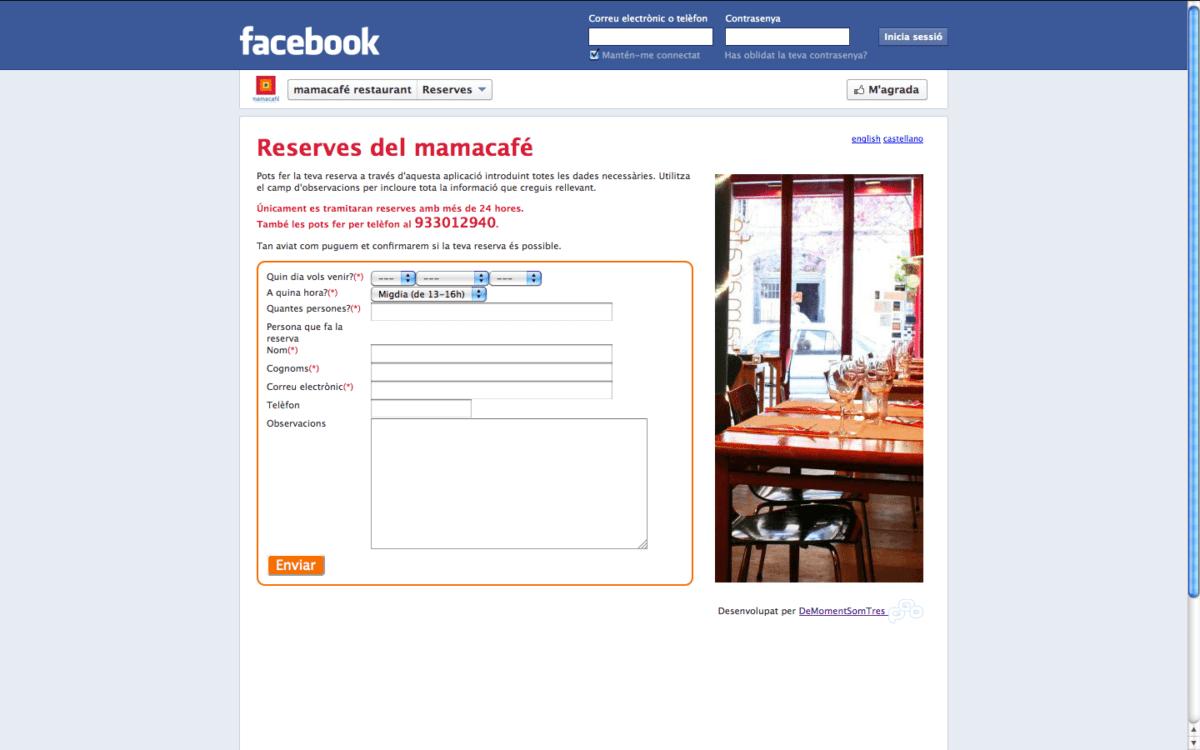 Facebook App per reservar taula al restaurant