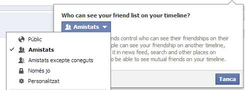 Qui pot veure la llista d'amistats al Facebook?