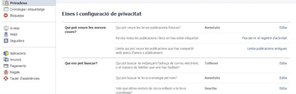 Opcions generals de privacitat al Facebook