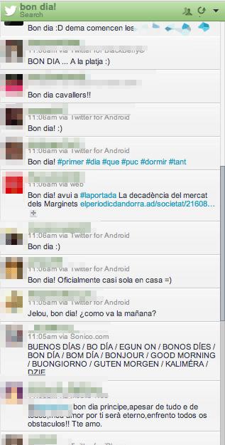 Captura de hootsuite amb missatges que únicament diuen bon dia