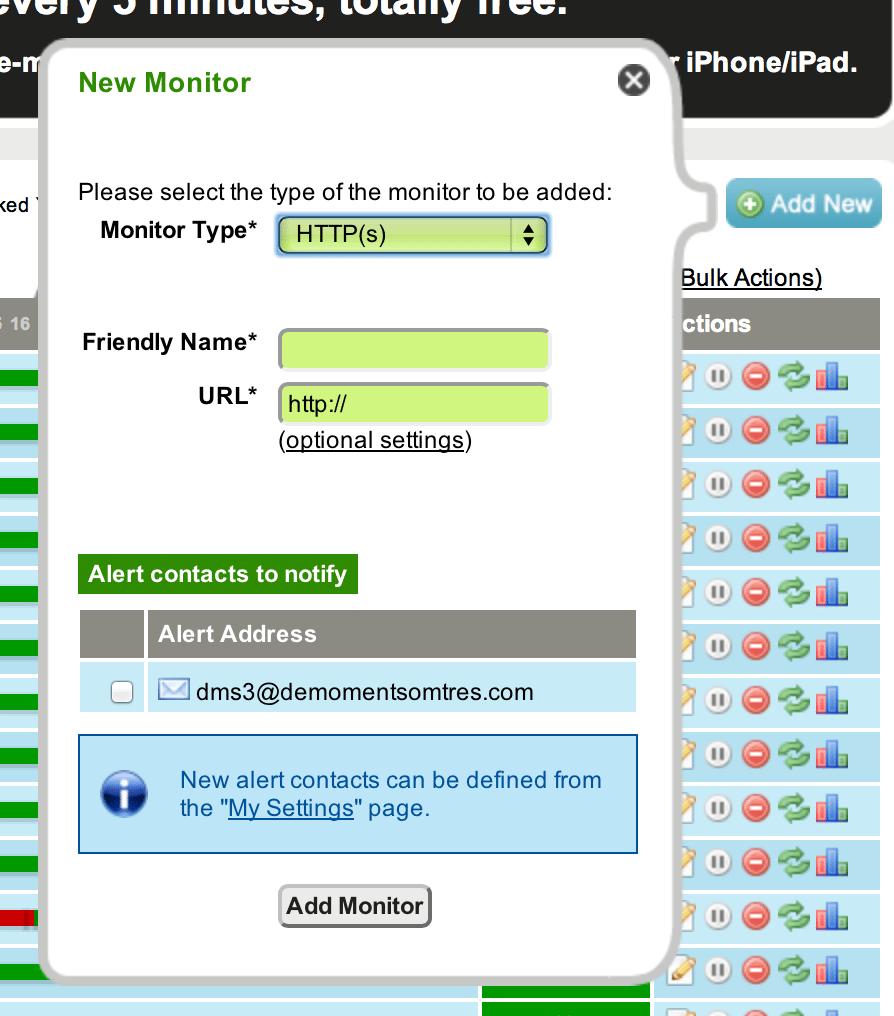 La pàgina d'introducció de paràmetres de monitoratge web