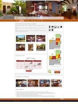 La pàgina d'un allotjament en mostra les característiques, fotografies, el plànol de situació i el formulari de reserves a més de l'enllaç per facilitar la contractació de múltiples allotjaments simultanis.
