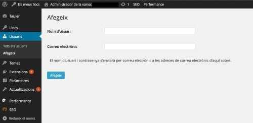 La pantalla d'administració d'usuaris de l'administrador de la xarxa