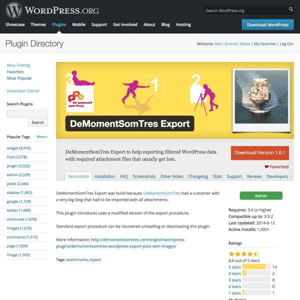 WordPress Export Images plugin supera les 1000 instal·lacions actives
