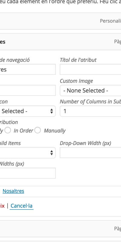 Configuració de les entrades del menú de WordPress