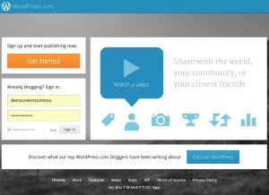 """Accedim a WordPress.com i fem clic al botó """"Get Started"""""""